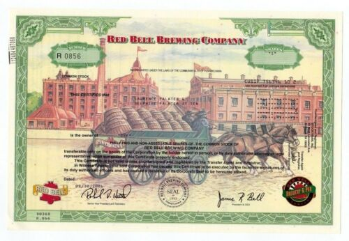 Red Bell Brewing Co stock certificate- Issued - RARE!