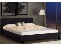【Brand New】Cheap Designer Leather Bed 4ft6 Double 5ft King Black Brown White + Mattress