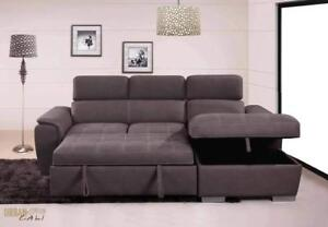 Christmas Sale! Urban Cali Fremont Sleeper Sofa Bed Sectional Loveseat with Storage Chaise in Stock in Canada