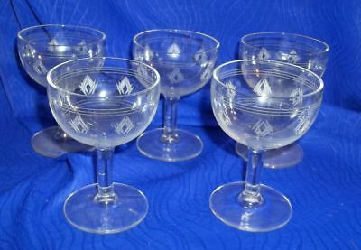 "Vintage Etched  Glass 3 3/4""H Wine/Sherry Small Stemware Glasses, Set of 5"