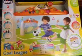 Chicco toddlers goal game. Unwanted gift as my sons far too old for it. Hasnt been opened.