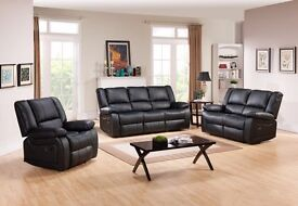 BRAND NEW Toronto BLACK Leather Recliner Sofas
