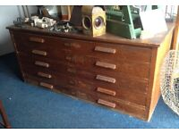 Large vintage antique wooden plan architects drawers chest