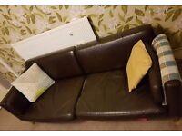ikea split leather 3 seater sofa