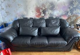 Black Genuine Leather 3 Seater Sofa with 2 Leather Cushions
