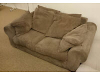 Two Seater Brown Fabric Couch Sofa