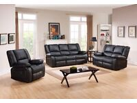 **SALE** TORONTO BLACK LEATHER RECLINER SOFA FREE DELIVERY**