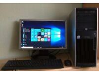 "HP Windows 10 Pro PC Computer/WIFI/3GB RAM/160GB/19""Monitor/Sound"