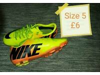 Range of football boots sizes 5, 5.5, 6 & 8
