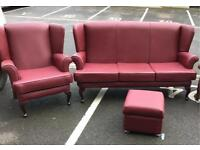 Wingback Suite (3 Seater Sofa, Chair and Foot Stool)