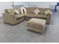 Fabric L-Shape Corner Sofa with Foot Stool/Storage