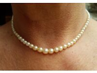 "15"" Vintage cultured pearl necklace with 9ct fastener with diamond"