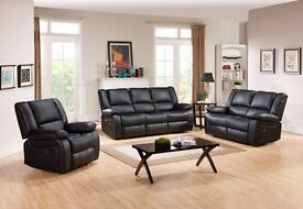 BRAND NEW Toronto Black Leather Recliner Sofa Set