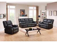BRAND NEW Toronto Black Leather Recliner Sofa Set