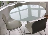 HABITAT GLASS WHITE KITCHEN TABLE AND CHAIRS