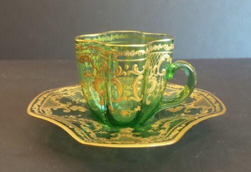19th C. GREEN MOSER ART GLASS GILT ENAMELED DEMITASSE CUP & SAUCER, c. 1885-1900
