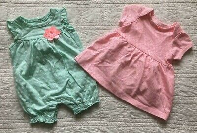 New Infant Girls 2 Pack Body Suit & Dress Pink And Mint Choose - Infant Dress Suit