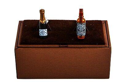 Champagner & Whiskey Flasche Paar Manschettenknöpfe Kostüm Geschenkbox - Flasche Whiskey Kostüm
