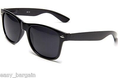 Glossy Black Vintage Sunglasses Retro 80s Dark (Dark Black Wayfarer Sunglasses)