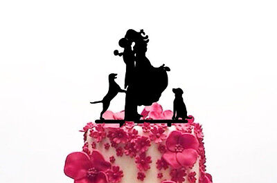 Bride & Groom with Dog Acrylic Cake Stand Topper Wedding Silhouette Topper Dogs