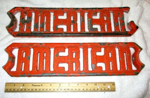 """2  Heavy Cast Iron Steps Cut-out Letters """"AMERICAN"""""""