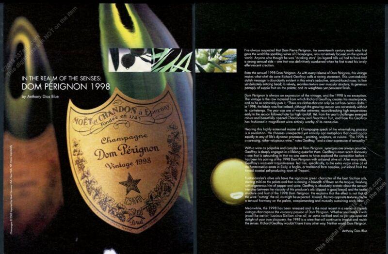 2005 Dom Perignon champagne 1998 bottle big photo vintage print ad