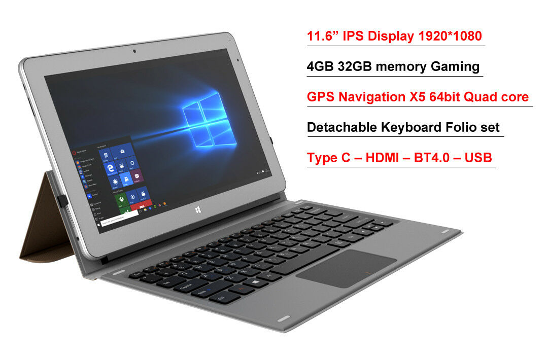 "11.6"" IPS Intel Atom X5 8350 4GB 32GB EMMC 2 in 1 GPS Window"