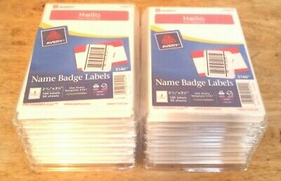 Avery - Name Badge Label 12 Pack1200 Labels 5140 2.34 X 3.37 Free Shipping