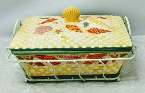 Temp-Tations by Tara ~ Covered Casserole Dish & Wire Basket Drip Tray Sea Shell