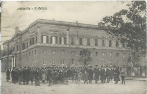 Caltanissetta-Prefettura-Cartolina-viaggiata-1914-Abrasione-al-frontis