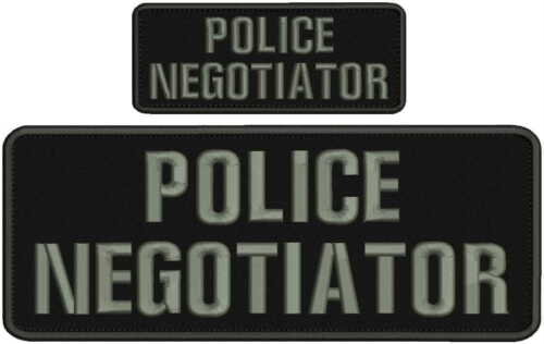 POLICE NEGOTIATOR embroidery patch 4X10 and 2.x5 hook grey