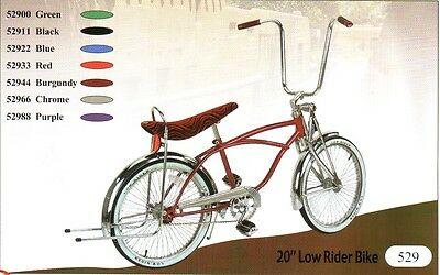 """20"""" Lowrider bike with 72 spokes coaster brake pick up : 6 colors"""