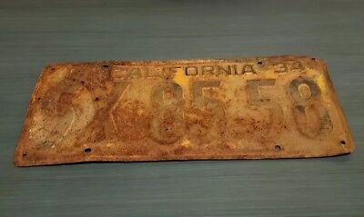 1934  CALIFORNIA  5X 85 58  LICENSE PLATE