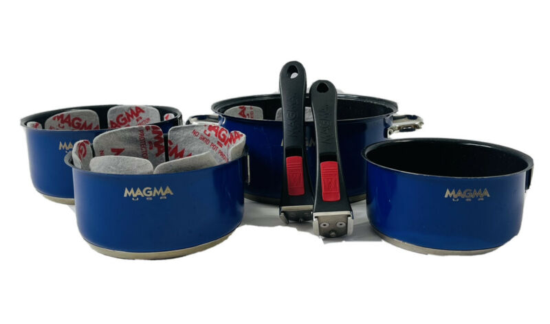 Magma Nesting 6 Piece Stainless Steel Induction Camping Fireside Pots Cook Set