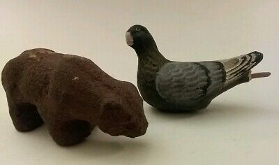 Antique Miniature Paper Mache & Composition Bear & Pigeon, Bird
