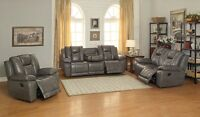 Top grain leather sofa set from show home