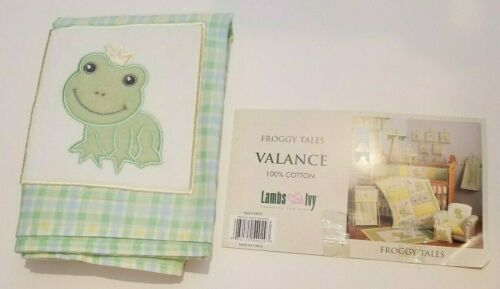 Lambs Ivy Brand Froggy Tales 100% Cotton Green Checked Valance 72x14