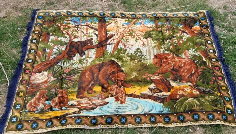 Vintage Tapestry 65 x 46   Bear Family Bath Time Rug Wall Hanging