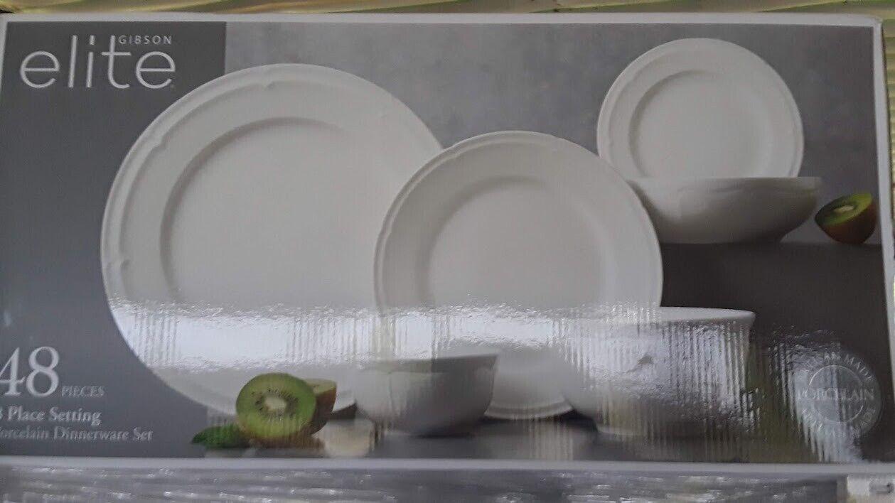 Gibson Elite 48-Piece Porcelain Dinnerware Set in Hyperion