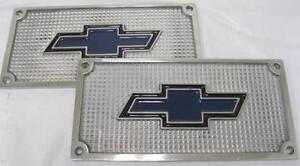 Chevy Car Truck Flat Polished Aluminum Running Board Step Plate SET Bowtie Logo