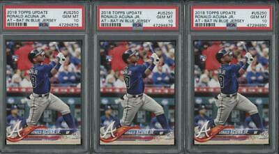 2018 Topps Update At Bat #US250 Ronald Acuna Jr RC Gem Mint PSA 10 Lot of 3