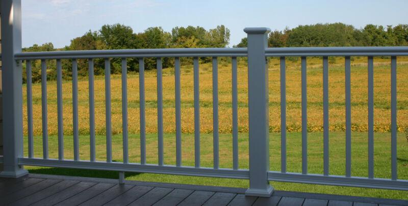 Composite Deck Rail, Patio Railing, White Handrail Kit 8