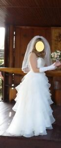 Strapless White Wedding Dress Size 6, 5'3, with veil and gloves