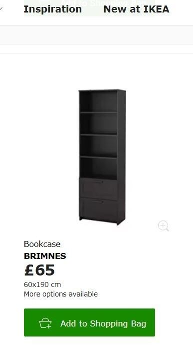 Black Bookshelf With 2 Drawers