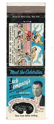 JACK DEMPSEY'S BROADWAY RESTAURANT NEW YORK BOXE MATCHBOX LABEL ANNI '50 AMERICA