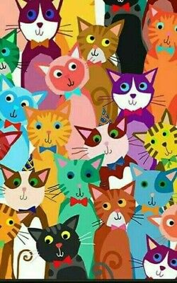 NEEDLEPOINT Canvas 14 or 18 count_ Cats, Bright Colors 14 Count Canvas