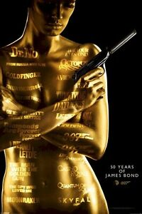 JAMES BOND MOVIE POSTER ~ 50 YEARS 24x36 Anniversary 007 Skyfall Goldfinger 50th