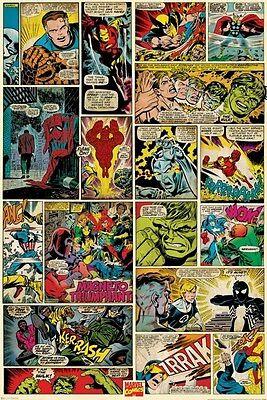 MARVEL COMIC BOOK ART ~ CLASSIC PANELS ~ 24x36 POSTER X-Men Spider-Man Universe