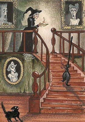 ACEO PRINT OF PAINTING RYTA HALLOWEEN WITCH BLACK CAT PORTRAIT HAUNTED HOUSE ART (Halloween Portrait)