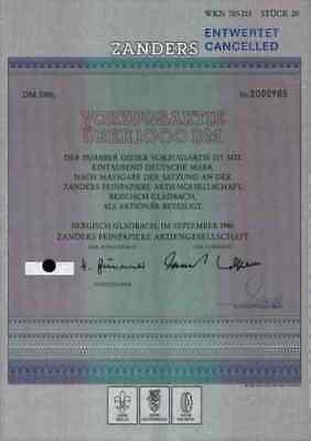 Zanders Feinpapier 1986 Bergisch Gladbach Düren Dornbach Vorzugsaktie 1000 DM